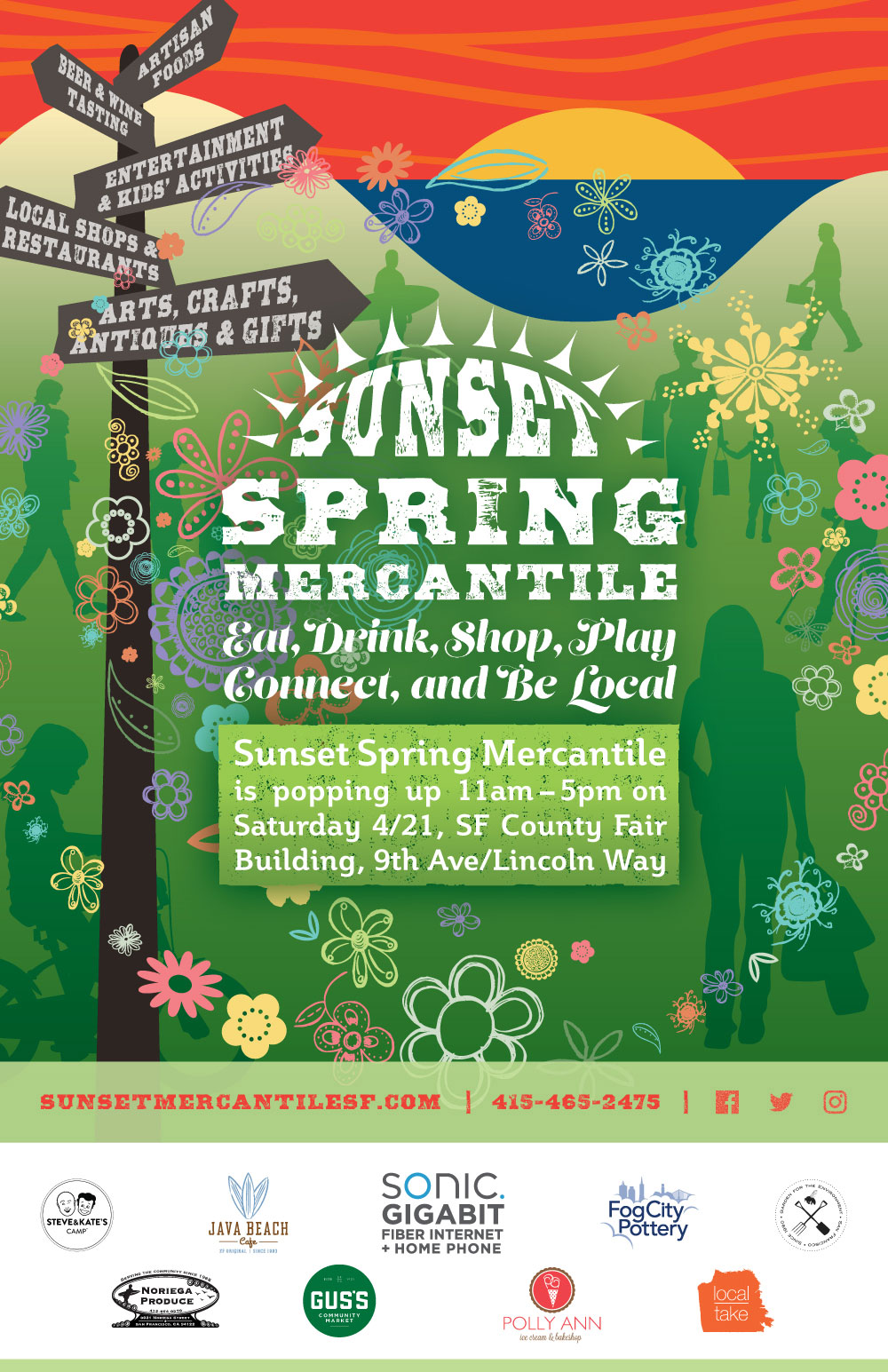 Sunset Spring Mercantile is popping up 11am - 5pm, Saturday, April 21, SF County Fair Building, 9th Ave/Lincoln Way - Artisan Foods - Beer & Wine Tasting - Entertainment & Kids' Activities - Local Shops & Restaurants - Arts, Crafts, Antiques & Gifts